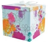 Dárková krabička skládací s mašlí 03 Barevné květy XL 25 x 25 x 14,5 cm
