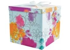 Anděl Dárková krabička skládací s mašlí Barevné květy 25 x 25 x 14,5 cm