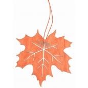 List zo drevený oranžový na zavesenie 10 cm