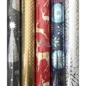 Zöllner Vianočný Luxusné baliaci papier Platinum modrý - zlatej a modrej vločky 1,5 mx 70 cm