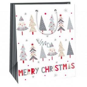 Ditipo Darčeková papierová taška 26,4 x 13,6 x 32,7 cm biela stromčeky Merry Christmas AB