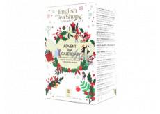 English Tea Shop Bio Adventný kalendár biely 24 kusov biologicky odbúrateľných pyramídiek čaju, 13 príchuťou, 36 g, darčeková sada