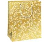 Ditipo Darčeková papierová taška 18 x 10 x 22,7 cm Vianočná zlatá - biele vetvičky