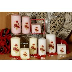 Lima Vlčí mák vonná svíčka růžová s obtiskem krychle 45 x 45 mm 1 kus