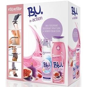 BU In Action Sensitive antiperspirant dezodorant sprej pre ženy 150 ml + In Action Yogurt + Fig sprchový gél 250 ml, kozmetická sada