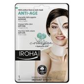 Iroha Anti-Age Bavlněná maska na obličej a krk s kolagenem a hyaluronovým sérem 30 ml