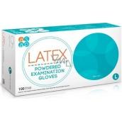 Asap Rukavice Latex jednorazové púdrované latexové veľkosť L box 100 kusov