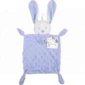 First Steps Usínáček s plyšovou hlavičkou Zajac Minky modrý 26 x 18 cm
