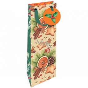 Nekupto Darčeková papierová taška na fľašu luxusné 13 x 33 cm Vianočný pomaranč, škorica, perníčky, šiška Wilh 1981