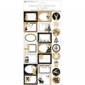 Menovky na darčeky samolepiace s glitrami bielo-hnedej 18 x 40 cm 23 kusov