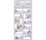 Arch Vánoční etikety samolepky Sněhuláci světle modrý arch 7052 12 etiket