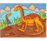 Maľovanie vodou dinosaury č.2 28 x 21 cm