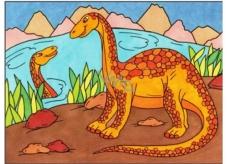 Malování vodou dinosauři č.2 28 x 21 cm