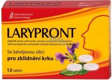 Favea Larypront se šalvějovou silicí rozpustné v ústech ke zklidnění krku 12 tablet