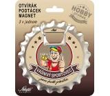 Nekupto Hobby 3v1 otvárač, podtácek, magnet Vášnivý športovec 10 cm
