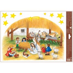 Okenné fólie bez lepidla farebná české Vianoce - veľký Betlehem 30 x 42 cm