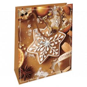 Nekupto Darčeková papierová taška 14 x 11 x 6,5 cm Vianočná hnedá perníčky WBS 1916 01
