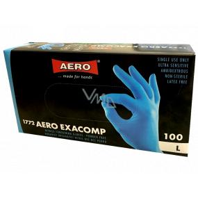 Aero Exacomp Rukavice hygienické jednorázové nitrilové antialergénne nepúdrované, veľkosť L, box 100 kusov modré