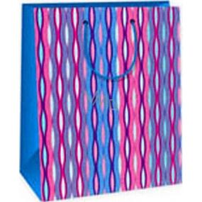 Ditipo Darčeková papierová taška 26,4 x 13,7 x 32,4 cm ružovo modro biele vlnky AB