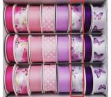 Ditipo Stuha viazacie saténová fialové kvety 3 mx 25 mm