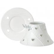 Yankee Candle White Hearts tienidlo malé 8 x 9 cm + tanier malý 9 x 9 cm na sviečku malú Classic
