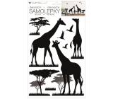 Samolepka na stenu čierna žirafy 24 x 42 cm