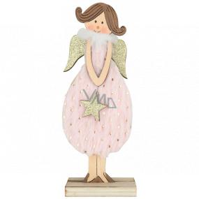 Anjel drevený v ružových šatách na postavenie 16 cm