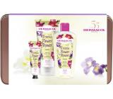 Dermacol Freesia Flower Shower sprchový olej 200 ml + sprchový krém 200 ml + krém na ruky 30 ml + plechová krabička, kozmetická sada