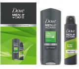 Dove Men + Care Extra Fresh sprchový gel 400 ml + antiperspirant dezodorant sprej 150 ml, kozmetická sada pre mužov
