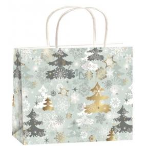 Anjel Taška vianočná darčeková strieborná-stromčeky M horizont 23 x 18 x 10 cm