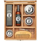 Percy Nobleman Starostlivosť o fúzy a fúzy olejový kondicionér na fúzy 100 ml + šampón na fúzy 100 ml + balzam na fúzy 65 ml + stylingový vosk 50 ml + vosk na fúzy 30 g + nožnice + hrebeň, kozmetická sada