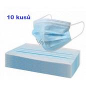 Rúška 3 vrstvová ochranná zdravotné netkaná jednorazová, nízky dýchací odpor 10 kusov
