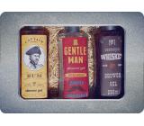 Bohemia Gifts Gentleman sprchový gél pre mužov 250 ml + Whiskey sprchový gél pre mužov 250 ml + Rum sprchový gél pre mužov 250 ml, plechový box kozmetická sada