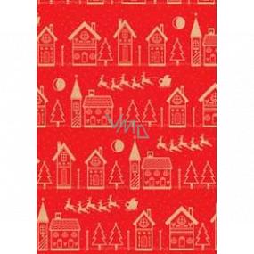 Ditipo Darčekový baliaci papier 70 x 200 cm Vianočný KRAFT červený béžovej domčeky