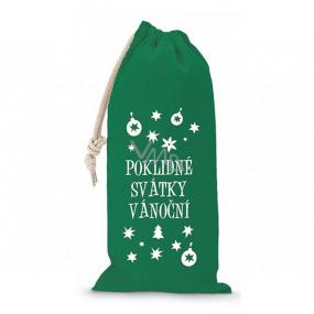 Nekupto Látkový vianočné vrecúško Pokojné sviatky vianočné zelený 150 x 300 mm