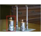 Lima Relief zimné sviečka metal svetlo hnedá valec 60 x 120 mm 1 kus