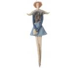 Andělka látková na zavěšení, ve džínovém a šedé vestě 43 cm