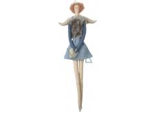 Andelko látková v džínsovej a šedej veste na zavesenie 43 cm