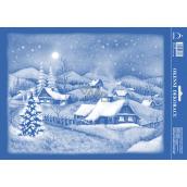 Arch Vianočné samolepka, okenné fólie bez lepidla Zasnežená krajina 25 x 35 cm