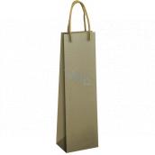 Ditipo Darčeková papierová taška na fľašu 12 x 9 x 39 cm EKO olivovo zelená