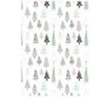 Ditipo Darčekový baliaci papier 70 x 100 cm Vianočné biely - stromčeky 2 archy