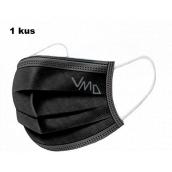 Shield Rúška 3 vrstvová ochranná zdravotné netkaná jednorazová, nízky dýchací odpor 1 kus čierna