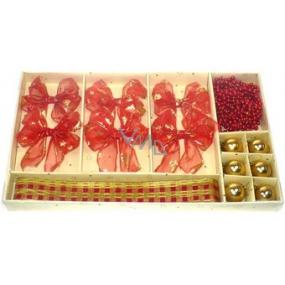Vianočné súprava 6 mašľou, 6 baniek, stuha, reťaz červený dekor 1 kus