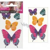Tetovací obtisky s glitry motýli 10,5 x 6 cm