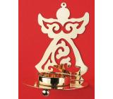 Svietnik kovový zlatý anjel 11 cm na čajovú sviečku