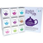 English Tea Shop Bio Vianočný zima Očista po vianočnom hodovaní + Detox so zimným ovocím + Chai pre zvýšenie imunity + Po večeri + Osladiť si život + Dodať si energiu pre sviatky + Neodolateľne biele + Svätý deň + Uvoľniť sa na sezónu, 72 kusov, 9 príchuťou po 8 nálevových vrecúškach, darčeková sada v plechovej dóze