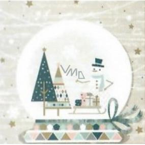 Nekupto Papierové obrúsky 3 vrstvové 33 x 33 cm 20 kusov sněžítko, snehuliak, stromčeky, sane s darčekmi