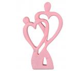 Emóciám Drevená dekorácia srdce pár ružová 120 x 20 x 200 mm