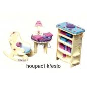 Mini Dream Home Drevené puzzle nábytok snov 04 Hojdacie kreslo 20 x 15 cm