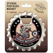 Nekupto Hobby 3v1 otvárač, podtácek, magnet Vášnivý motorkár 10 cm